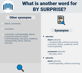 by surprise, synonym by surprise, another word for by surprise, words like by surprise, thesaurus by surprise