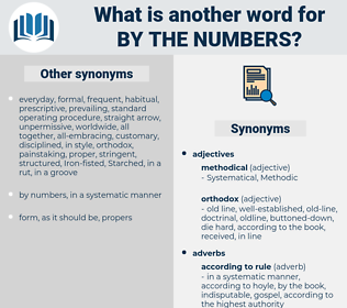 by the numbers, synonym by the numbers, another word for by the numbers, words like by the numbers, thesaurus by the numbers
