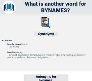 bynames, synonym bynames, another word for bynames, words like bynames, thesaurus bynames