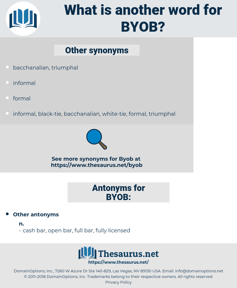 BYOB, synonym BYOB, another word for BYOB, words like BYOB, thesaurus BYOB