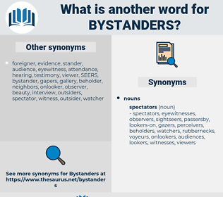 bystanders, synonym bystanders, another word for bystanders, words like bystanders, thesaurus bystanders