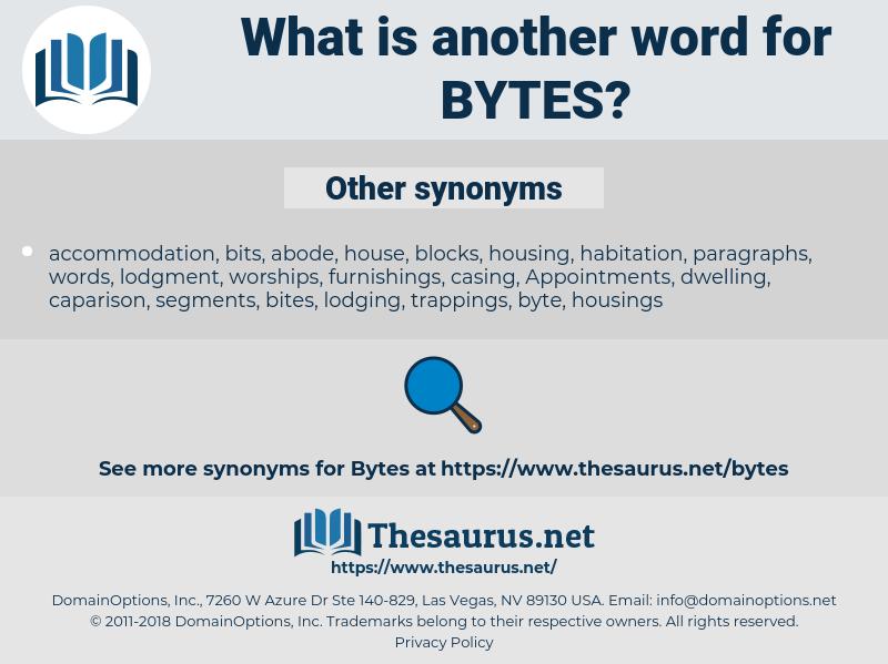 bytes, synonym bytes, another word for bytes, words like bytes, thesaurus bytes