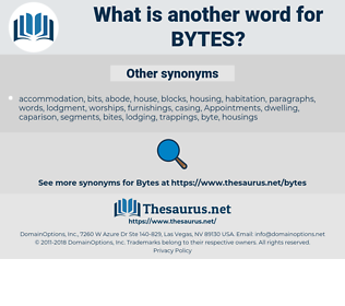 bytes, synonym bytes, another word for bytes, words like bytes, thesaurus bytes