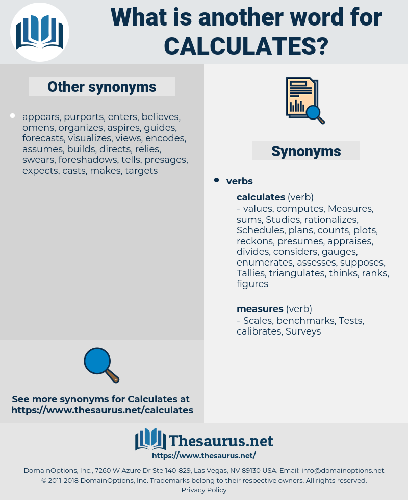 calculates, synonym calculates, another word for calculates, words like calculates, thesaurus calculates