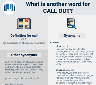 call out, synonym call out, another word for call out, words like call out, thesaurus call out