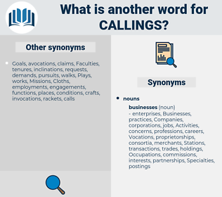 callings, synonym callings, another word for callings, words like callings, thesaurus callings
