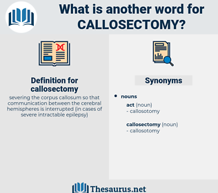 callosectomy, synonym callosectomy, another word for callosectomy, words like callosectomy, thesaurus callosectomy