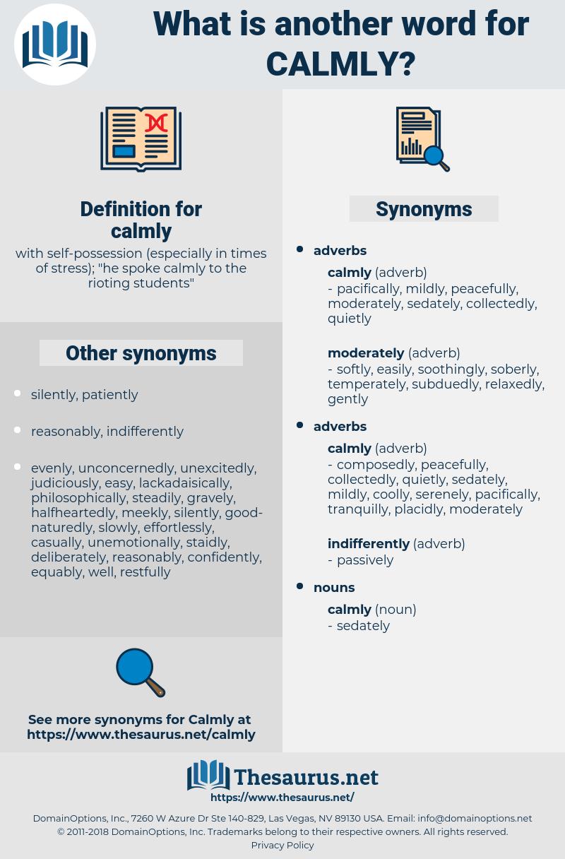calmly, synonym calmly, another word for calmly, words like calmly, thesaurus calmly