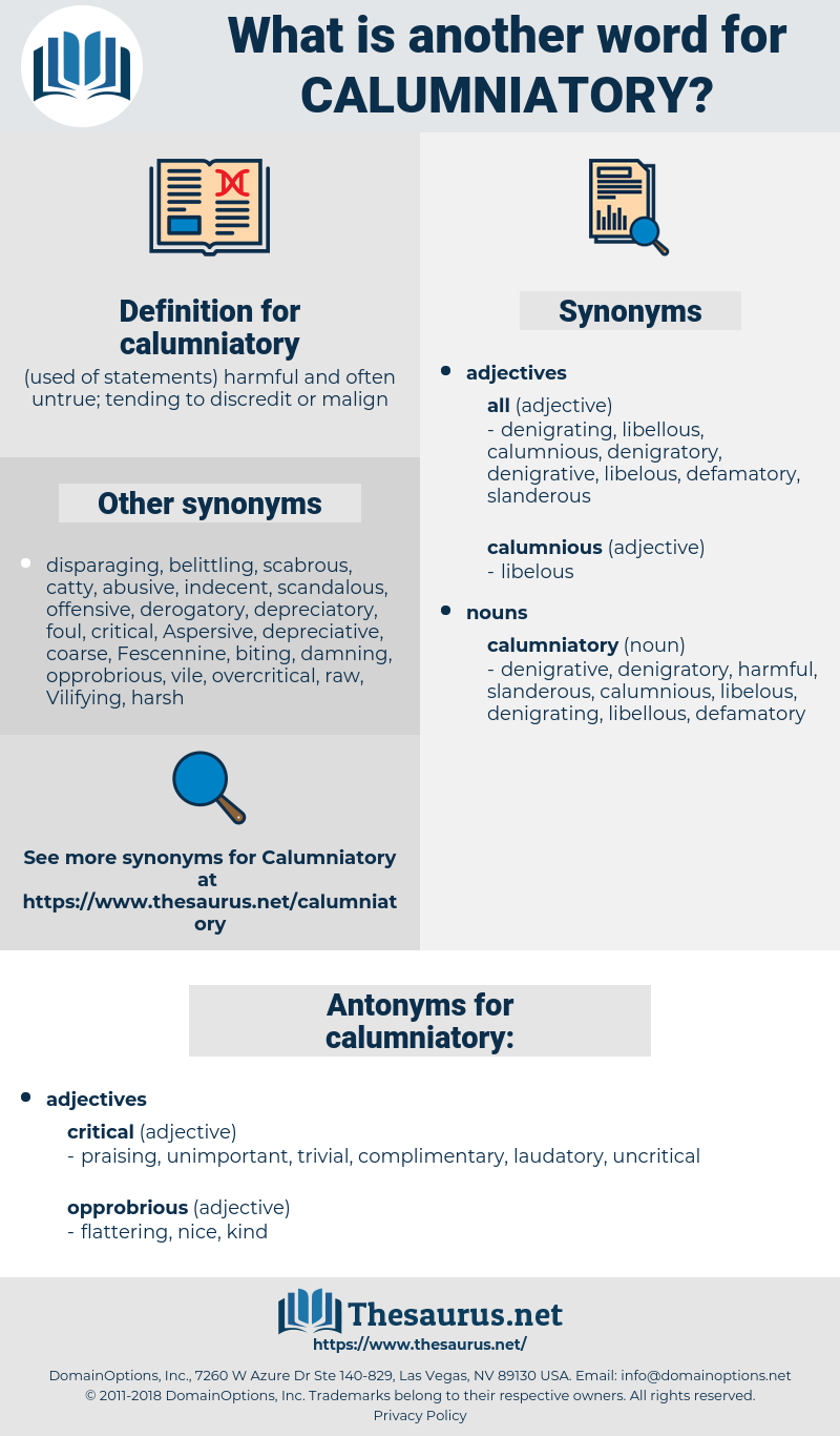 calumniatory, synonym calumniatory, another word for calumniatory, words like calumniatory, thesaurus calumniatory