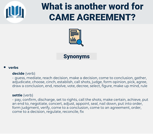 came agreement, synonym came agreement, another word for came agreement, words like came agreement, thesaurus came agreement