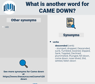 came down, synonym came down, another word for came down, words like came down, thesaurus came down