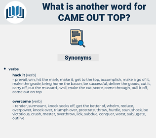 came out top, synonym came out top, another word for came out top, words like came out top, thesaurus came out top