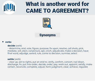 came to agreement, synonym came to agreement, another word for came to agreement, words like came to agreement, thesaurus came to agreement
