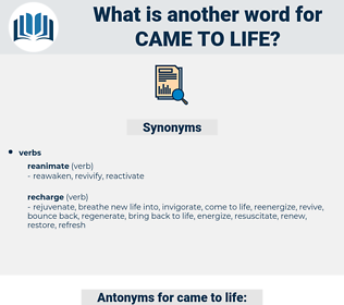 came to life, synonym came to life, another word for came to life, words like came to life, thesaurus came to life