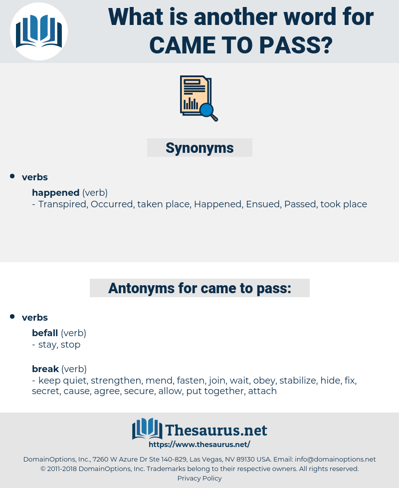 Synonyms For Came To Pass Antonyms For Came To Pass Thesaurus Net