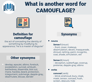camouflage, synonym camouflage, another word for camouflage, words like camouflage, thesaurus camouflage