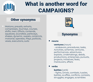 campaigns, synonym campaigns, another word for campaigns, words like campaigns, thesaurus campaigns