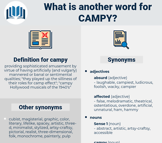 campy, synonym campy, another word for campy, words like campy, thesaurus campy