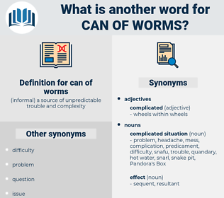 can of worms, synonym can of worms, another word for can of worms, words like can of worms, thesaurus can of worms