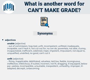 can't make grade, synonym can't make grade, another word for can't make grade, words like can't make grade, thesaurus can't make grade
