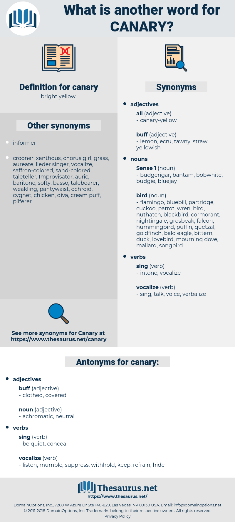 canary, synonym canary, another word for canary, words like canary, thesaurus canary