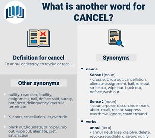 cancel, synonym cancel, another word for cancel, words like cancel, thesaurus cancel