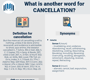 cancellation, synonym cancellation, another word for cancellation, words like cancellation, thesaurus cancellation