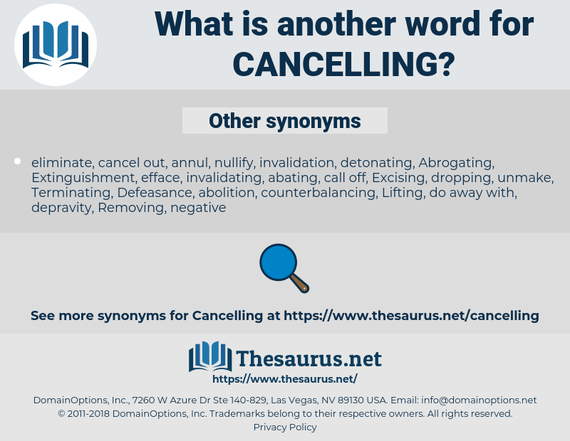 Cancelling, synonym Cancelling, another word for Cancelling, words like Cancelling, thesaurus Cancelling