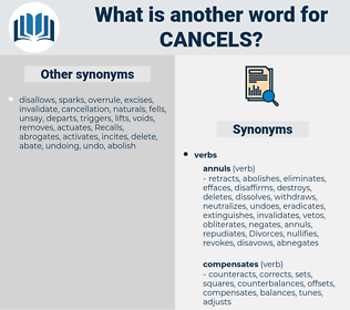 cancels, synonym cancels, another word for cancels, words like cancels, thesaurus cancels