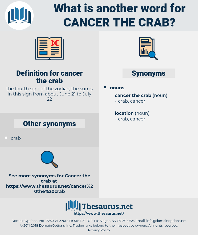 cancer the crab, synonym cancer the crab, another word for cancer the crab, words like cancer the crab, thesaurus cancer the crab