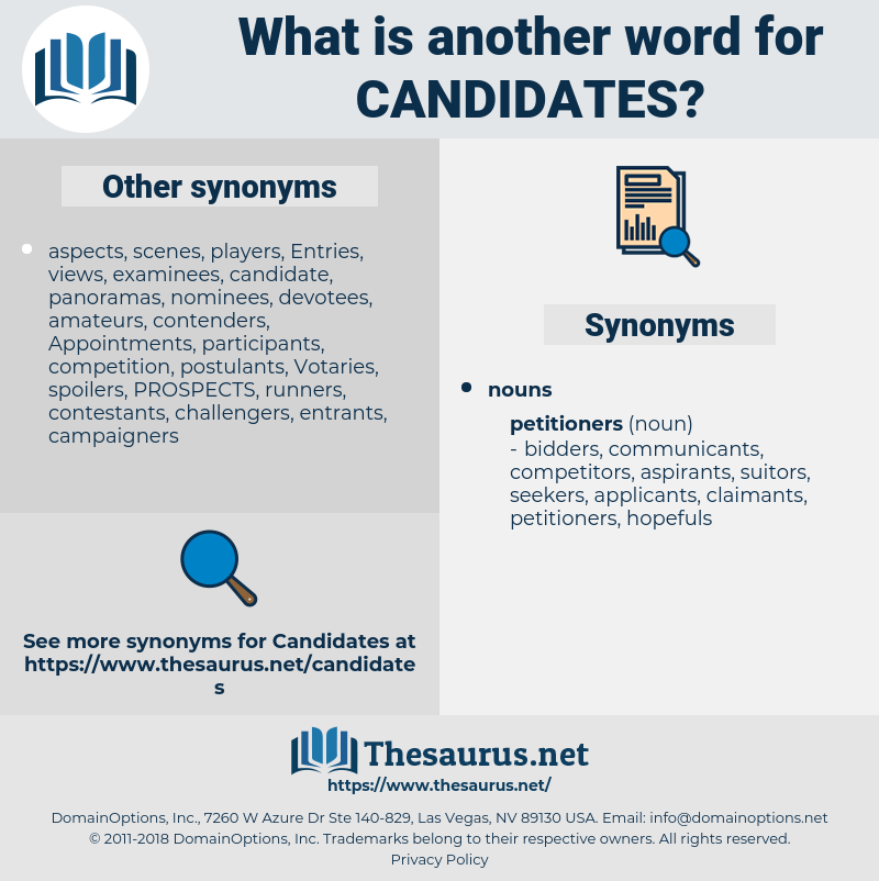 candidates, synonym candidates, another word for candidates, words like candidates, thesaurus candidates