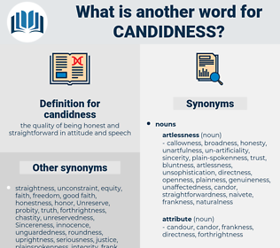 candidness, synonym candidness, another word for candidness, words like candidness, thesaurus candidness
