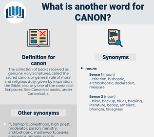 canon, synonym canon, another word for canon, words like canon, thesaurus canon