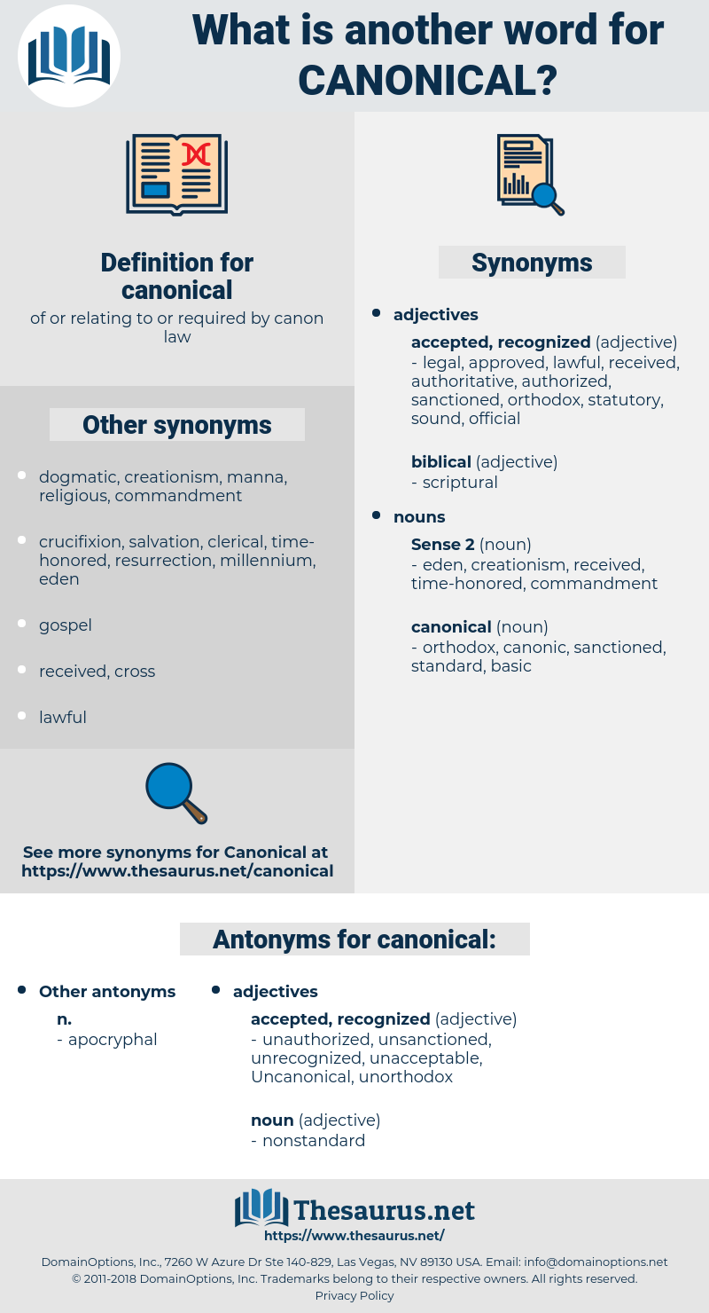canonical, synonym canonical, another word for canonical, words like canonical, thesaurus canonical