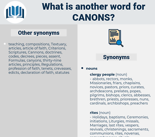 canons, synonym canons, another word for canons, words like canons, thesaurus canons