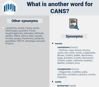 cans, synonym cans, another word for cans, words like cans, thesaurus cans