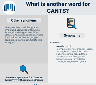 cants, synonym cants, another word for cants, words like cants, thesaurus cants