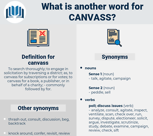 canvass, synonym canvass, another word for canvass, words like canvass, thesaurus canvass