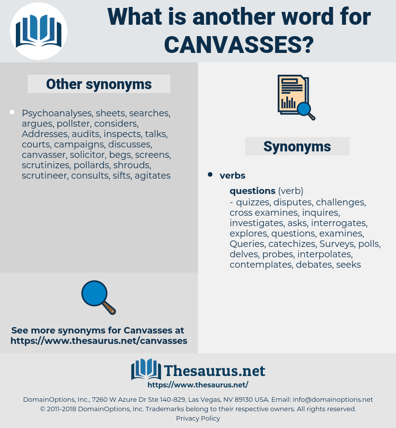 canvasses, synonym canvasses, another word for canvasses, words like canvasses, thesaurus canvasses