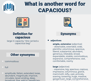 capacious, synonym capacious, another word for capacious, words like capacious, thesaurus capacious