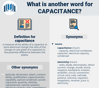 capacitance, synonym capacitance, another word for capacitance, words like capacitance, thesaurus capacitance