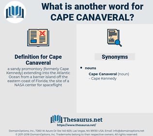 Cape Canaveral, synonym Cape Canaveral, another word for Cape Canaveral, words like Cape Canaveral, thesaurus Cape Canaveral