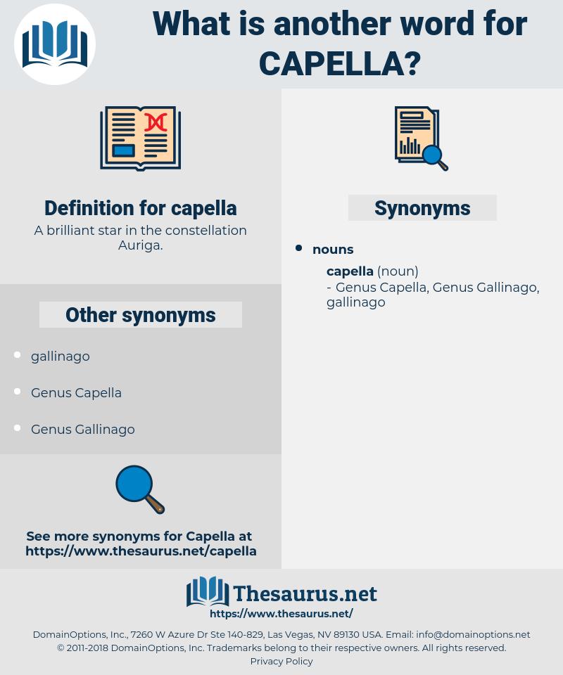 capella, synonym capella, another word for capella, words like capella, thesaurus capella