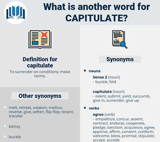 capitulate, synonym capitulate, another word for capitulate, words like capitulate, thesaurus capitulate