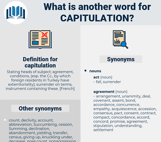 capitulation, synonym capitulation, another word for capitulation, words like capitulation, thesaurus capitulation