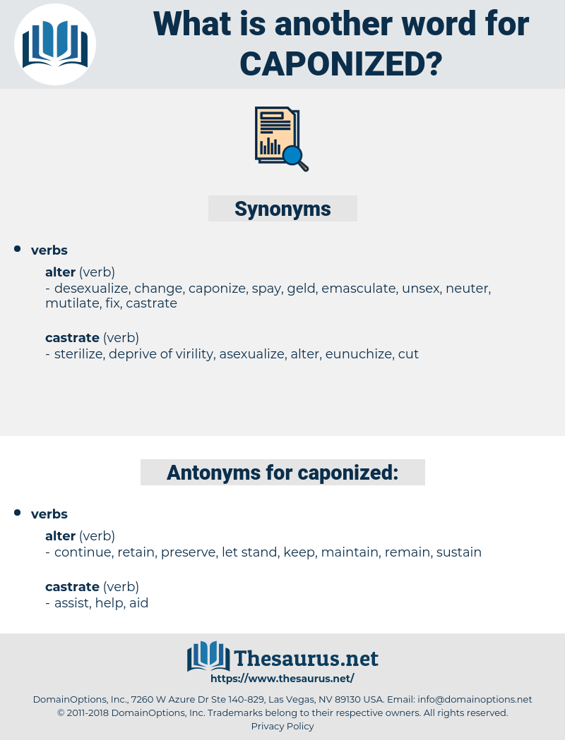 caponized, synonym caponized, another word for caponized, words like caponized, thesaurus caponized