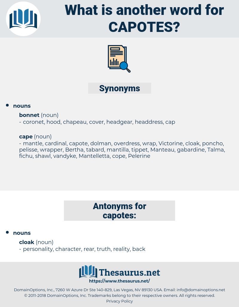 capotes, synonym capotes, another word for capotes, words like capotes, thesaurus capotes