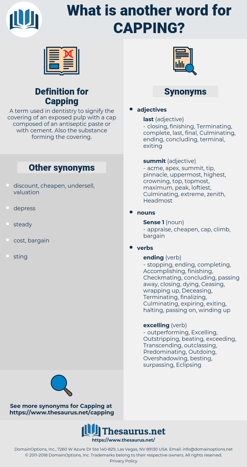 Capping, synonym Capping, another word for Capping, words like Capping, thesaurus Capping