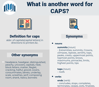 caps, synonym caps, another word for caps, words like caps, thesaurus caps