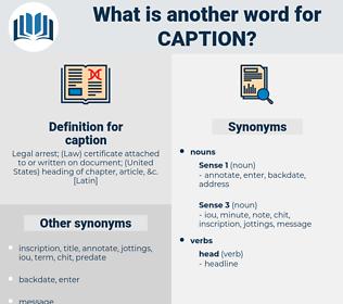 caption, synonym caption, another word for caption, words like caption, thesaurus caption